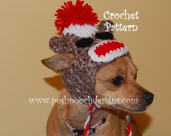 Instant Download Crochet Pattern Earflap Dog hat Small Dog