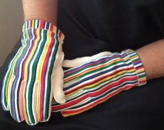 Vintage Used Multi Color Striped Cotton Gloves size 6