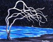 Beach house art, 8x10, Sailing, Ocean night sky, original painting, fine art, fantasy whimsical beachy