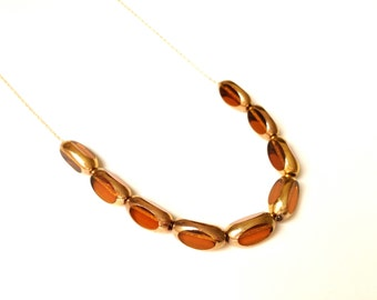 AMBER vintage beads from 1920 >>> 14k gold super long chain >>> gift box ready to give