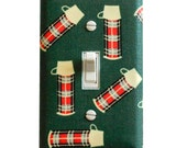 Vintage Thermos Light Switch Plate Cover / Boys Girls Camping Room / Hunter Green and Red Plaid