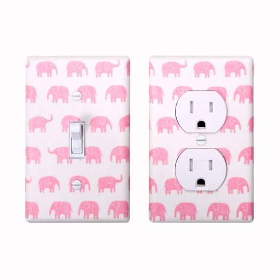 pink elephant light switch plate outlet cover set of 2