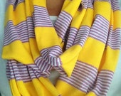 LSU Infinity Scarf- Purple and Yellow Stripe