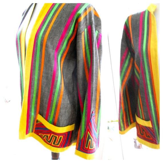 Vintage Mexican jacket by Marti's Nuevo Laredo, Mexico ethnic mola multicolored fiesta festival boho resort latino: small, medium