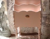 Shabby Chic Pink Magazine Rack - Book Stand with Cottage Roses Baby Girl Nursery