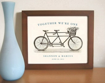 Personalized Engagement Gift - Personalized Wedding Gift - 11x14 Art for Couples - Bicycle For Two