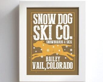 Yellow Lab Retriever Snowboard Skiing Art Personalized Snow Dog Winter Sports Ski Bum