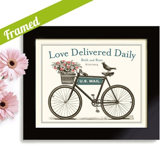 Personalized Bicycle Wedding Gift Art Print Unique Engagement Artwork Framed Art Print For Couple Anniversary Gift Keepsake