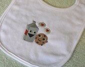 milk and cookie love funny embroidered bib