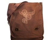 Steampunk canvas bag embroidered winged key messenger
