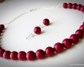 Raspberry Jasper Stone Necklace and Earrings Set Handcrafted