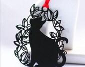 """6 x 5 cm """"Black Cat"""" Metal Bookmark (a.i)"""