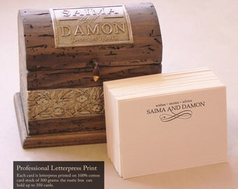 Mini Wedding GuestBook Alternative -  Rustic Box with Custom Letterpress Cards and Custom Monogram