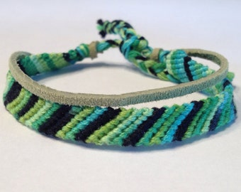 Ombre of Greens - Stripes Friendship Bracelet - with Suede