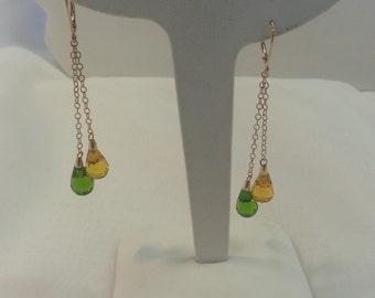Crystal Dangle Earrings 10 Karat Gold Yellow Green Crystal Vintage