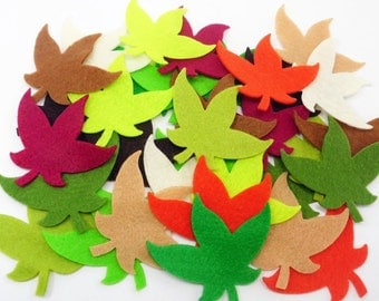 Felt leaves Colors, set of 33 pieces, Die Cut Shapes, felt shapes, Party Supply, DIY Wedding, Scrap supply