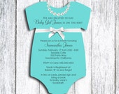 Robin's Egg Blue Onesie Baby Shower Invitation - set of 20 - Jewelry Box Inspired