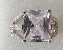 Exquisite Man Made Square Cut  Diamond Wedding Ring, Valentine
