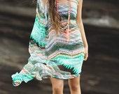 SALE Dream Beach Maxi Dress in Green Tribal