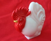 Vintage Milk Glass rooster bottle by Avon - pink perfumed lotion still inside!