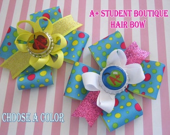 Momma Eva's --Back To School Special / A+ Student Layered Boutique Hair Bow / Your Choice Of Color /4.5 inch Design // Choose BLUE or YELLOW