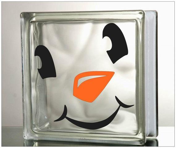 "Items similar to Glass Block Vinyl Decal ""Snowman Face ..."