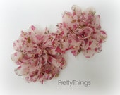 Floral Chiffon Flowers in Pink Shades. Set of 2 Flowers.