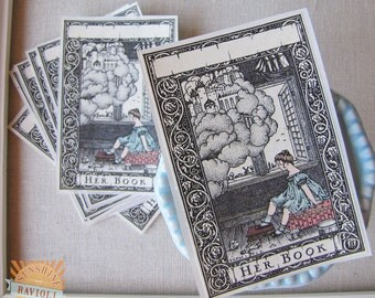 bookplate stickers- fairytale bookplates - her book ex libris - bookplates for girls - personalized - book labels - gift for her - custom