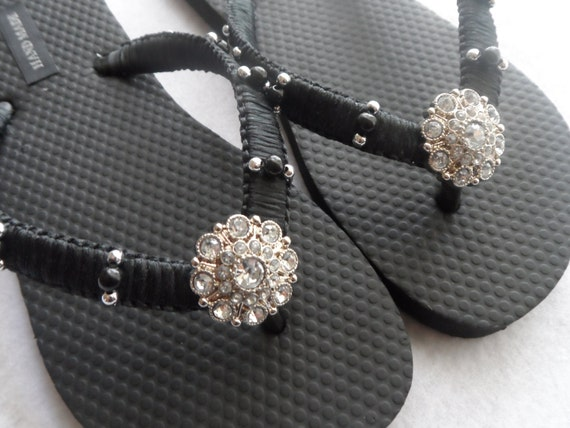 Black Macrame Flip Flops / Bridal Black & Rhinestones Flip Flops / Bridesmaids Shoes / Wedding Sandals.