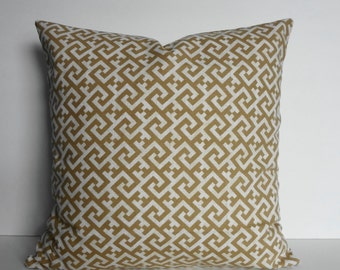 Greek Key Decorative Pillow Cover, Sand, Tan Cushion Cover, 18 x 18
