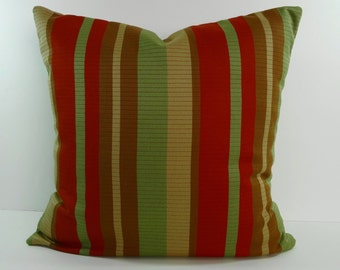 Decorative Pillow Cover, Green, Brunt Orange, Light Brown, Cushion Cover, 18 x 18