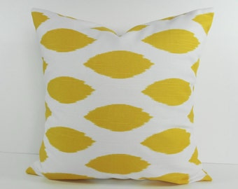 Ikat Decorative Pillow Cover, Throw Pillow Cushion,  Chipper Pillow Cover, Yellow,  Corn Yellow, 18 x 18