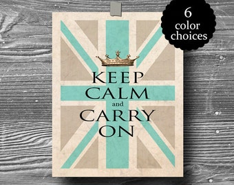 keep calm and carry on union jack british flag art print poster turquoise green pink grey gold orange