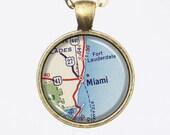 Miami, City Map Necklace - Miami -Vintage Map Series