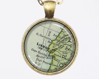Custom Map Necklace -Lisbon, Portugal- Vintage Map Series