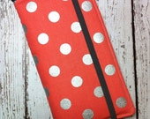 Samsung Galaxy Note, Note 2, Note 3, Note 4, iPhone 6 Plus wallet with removable gel case - coral with silver polka dots