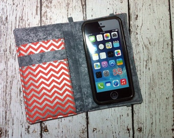 Coral and silver chevron print wallet for Samsung Galaxy phones with removable gel case