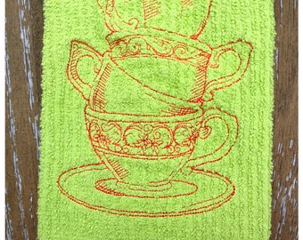 Whimsical tea cups embroidered hand towel