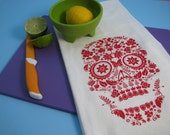 Large super soft flour sack towel with SUGAR SKULL print - your choice of 6 ink colors.