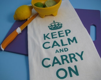 Large super soft flour sack towel with KEEP CALM and CARRY on print with your choice of 6 ink colors.