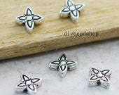 Spacer Charms -50pcs 9mm Antique Silver Mini Star Flower Spacer Bead Charm Pendants AA106-1