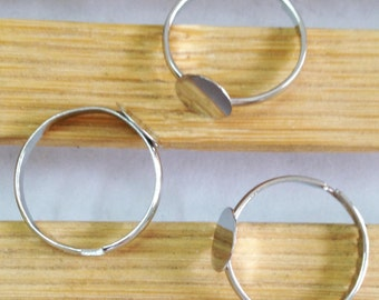 Ring Blanks Wholesale -50 Nickel Tone White K Plated Adjustable Ring Base Flat Pad 8mm J4014