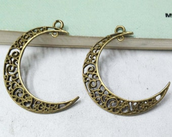15pcs Antique Bronze Filigree Moon Shape Earring Findings Charm Pendants 26x36mm F307-1