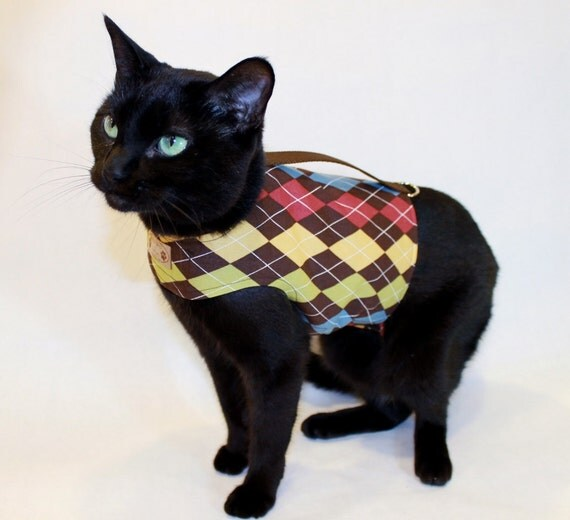 Cat Harness Brown Argyle Cat Harness Cat clothes Cat clothing