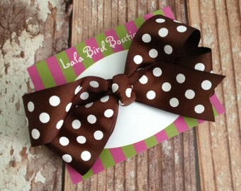 Large Boutique Style Hairbow - Brown Polka Dot