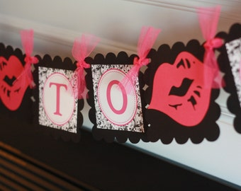 """Hot Pink and Black Scroll Damask Lips Kiss Bridal Shower Bachelorette """"Bride to Be"""" Banner -  Ask about our Party Pack Special"""