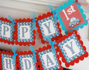 Happy Birthday or Baby Shower Red Grey Blue Car Theme Banner - Party Pack Specials - Free Ship Over 65.00