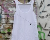 "SALE Woman Tanktop Classic T-Shirt  ""Tear"" white black"