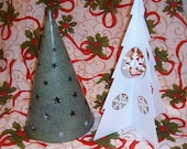 Upcycled, Christmas Trees, Two Metal Christmas Trees, Shabby Chic, Holiday Decor, Vintage