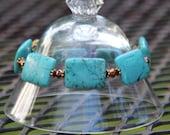 Howlite Stretch Bracelet - Turquoise Stretch Bracelet - Turquoise Gold Bracelet - Howlite Gold Bracelet - Turquoise Gold Stacking Bracelet
